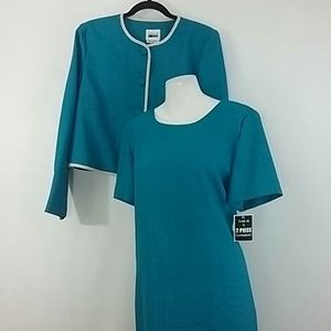 Leslie Fay Spring Dress and Jacket Teal Blue NWT